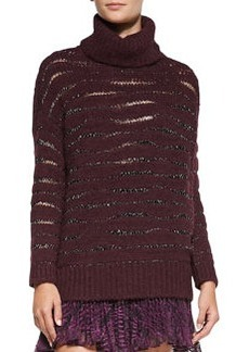 Nanette Lepore Striped Shimmery Knit Turtleneck Sweater
