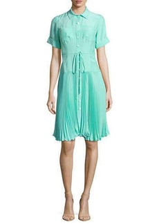 Nanette Lepore Sunburst Tie-Waist Pleated Shirtdress
