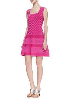 Nanette Lepore Sunrise Striped Full-Skirt Knit Dress