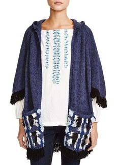 Nanette Lepore Surf's Up Hooded Poncho Cardigan