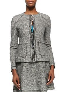 Nanette Lepore Take-A-Journey Tweed Jacket W/ Chain Placket  Take-A-Journey Tweed Jacket W/ Chain Placket