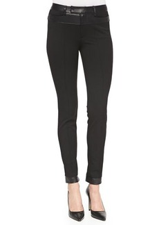 Nanette Lepore Trick Rider Skinny Leather-Trim Pants