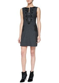 Nanette Lepore Turkish Delight Embroidered Leather-Trim Dress