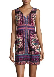 Nanette Lepore Twill Multi-Design Sleeveless Dress, Black Multi