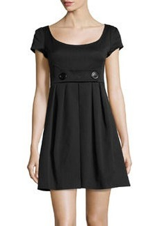 Nanette Lepore Twill Scoop-Neck Dress, Black