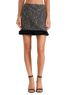 Nanette Lepore Undercover Skirt with Rabbit Fur Trim