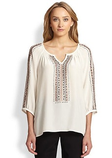 Nanette Lepore Vagabond Embroidered Silk Peasant Top
