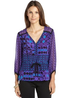 Nanette Lepore violet and blue silk printed 'Tribal' blouse