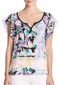 Nanette Lepore Wildflower Printed Silk Blouse