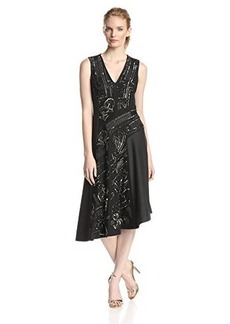 Nanette Lepore Women's Artisan Beaded Asymmetrical Sleeveless Dress, Charcoal Multi, 2