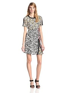 Nanette Lepore Women's Barcelona Babe Floral Mix Silk Dress, Black/Multi, 12
