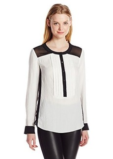 Nanette Lepore Women's Black Tie Colorblock Blouse, Black/Ivory, 2
