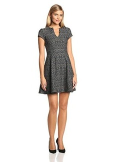 Nanette Lepore Women's Breakthrough Jacquard Fit and Flare Cap Sleeve Dress, Camel Multi, 6
