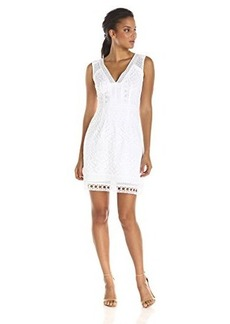 Nanette Lepore Women's Breezy Tiered Lace Dress, White, 4