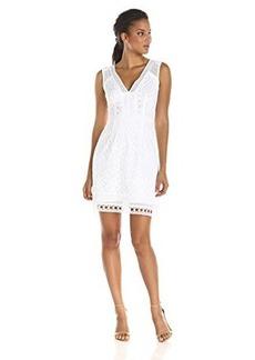 Nanette Lepore Women's Breezy Tiered Lace Dress, White, 4