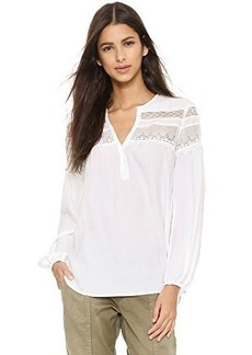 Nanette Lepore Women's Clear Skies Lace Detail Blouse, White, Medium