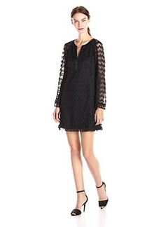 Nanette Lepore Women's Coquette Long Sleeve Tunic Top, Black, Large