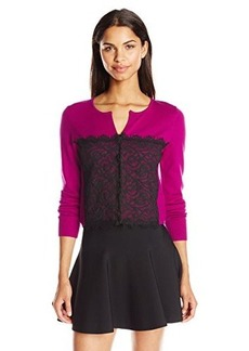 Nanette Lepore Women's Corset Cardigan, Pink/Black, Large