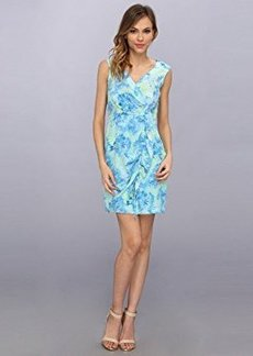 Nanette Lepore Women's Cove Copacabana Silk Floral Print Sleeveless Wrap Dress, Blue Sky/Multi, 2