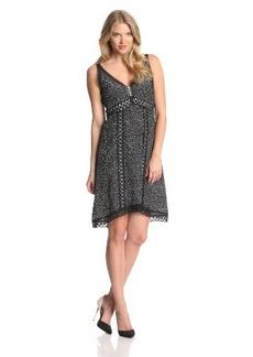 Nanette Lepore Women's Daring Dot Silk Polka Dot Sleeveless Dress, Black/White, 0