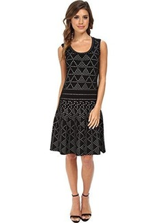 Nanette Lepore Women's Diamond Dazzle Knit Fit and Flare Dress, Black/White, X-Small