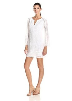 Nanette Lepore Women's Drifter Embroidered Lace 3/4 Sleeve Shift Dress, White, Medium