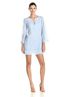 Nanette Lepore Women's Drifter Embroidered Lace 3/4 Sleeve Shift Dress, Sky Blue, X-Small