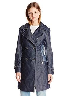 Nanette Lepore Women's Elegant Twill Double Breasted Trench Coat, Denim, Medium