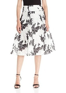 Nanette Lepore Women's Escapade Floral Organza Flared Skirt, White/Multi, 2