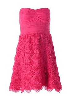 Nanette Lepore Women's Exotic Bloom Strapless Party Dress, Magenta, 12