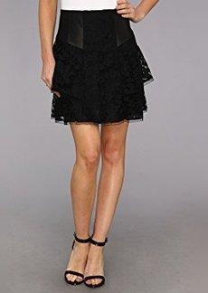 Nanette Lepore Women's Falling For You Lace Flare Skirt, Black, 0