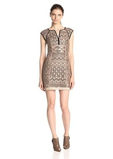 Nanette Lepore Women's Ferocious Fringe Lace Knit Dress, Light Camel, 4