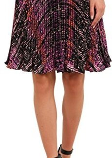 Nanette Lepore Women's Flippy Weave Pleated Embroidery Skirt, Orchid Multi, 10