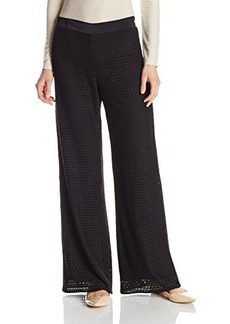 Nanette Lepore Women's Galala Perforated Knit Wide Leg Pant, Black, Small
