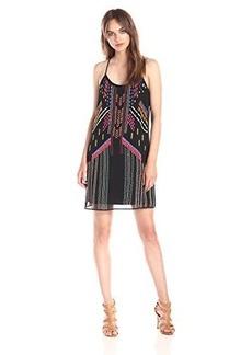 Nanette Lepore Women's Got Rhythm Embroidered Beaded Slip Dress, Black/Multi, Large
