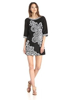 Nanette Lepore Women's Graphic Garden Embroidered 3/4 Sleeve Shift Dress, Black/White, 10