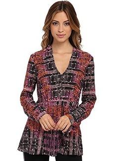 Nanette Lepore Women's Handloom Print Silk Long Sleeve Blouse, Orchid Multi, 8