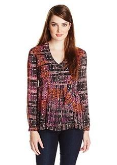 Nanette Lepore Women's Handloom Print Silk Long Sleeve Blouse, Orchid Multi, 6