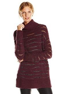 Nanette Lepore Women's Homespun Sparkle Yarn Alpaca Turtleneck Sweater