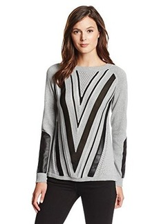 Nanette Lepore Women's Ivy League Chevron Pullover Sweater with Leather Detail