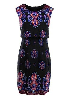 Nanette Lepore Women's Jodhpur Border Print Popover Sheath Dress, Black/Multi, 0