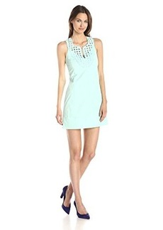 Nanette Lepore Women's Jungle Embellished Neck Sheath Dress, Aqua, 12