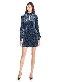 Nanette Lepore Women's Klimt Printed Long Sleeve Burnout Velvet Tunic Dress, Cobalt/Multi, 0