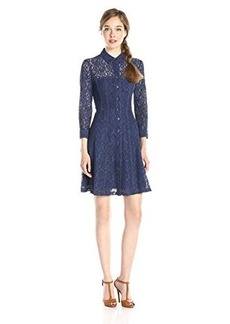 Nanette Lepore Women's Lace Fever Shirt Dress, Indigo, 2