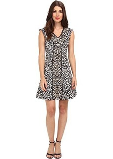 Nanette Lepore Women's Librarian Animal Print Fit and Flare Dress, Ivory, 4