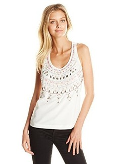 Nanette Lepore Women's Light Festival Embellished Silk Tank Top, White, Large
