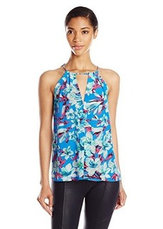 Nanette Lepore Women's Lily Silk Rainforest Print Tank Top, Surf Multi, Large