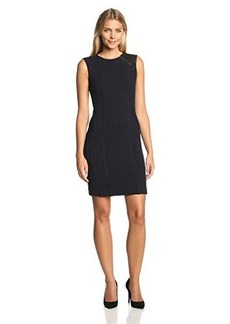 Nanette Lepore Women's Looking Glass Diamond Knit and Leather Fitted Dress