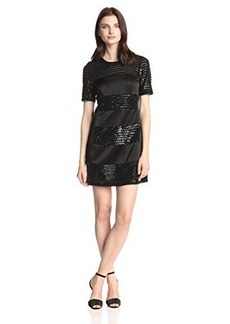 Nanette Lepore Women's Lustrous Sequin Stripe Shift Dress, Black, 2