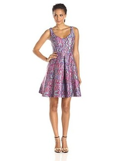 Nanette Lepore Women's Machu Picchu Printed Fit and Flare Dress, Fiesta Pink/Multi, 6
